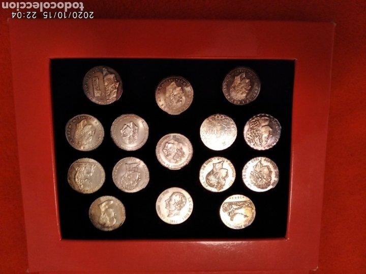 Reproducciones billetes y monedas: Estuche de monedas con las arras de Galicia en plata. - Foto 2 - 221163982