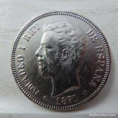 Reproducciones billetes y monedas: MONEDA 5 PESETAS DE AMADEO I 1871. Lote 221621610