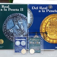 Reproducciones billetes y monedas: DEL REAL A LA PESETA. 2 ALBUMS VACIOS NUEVOS + 2 PRIMERAS MONEDAS DE ORO DE CADA ALBUM + REGALO ..... Lote 221724081