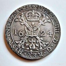Reproducciones billetes y monedas: 1624 ESPAÑOL PAÍSES BAJOS PATAGON-PHILIP IV 2 FLORINES 8 SOLA - 40.MM DIAMETRO - 26.72.GRAMOS. Lote 221740908