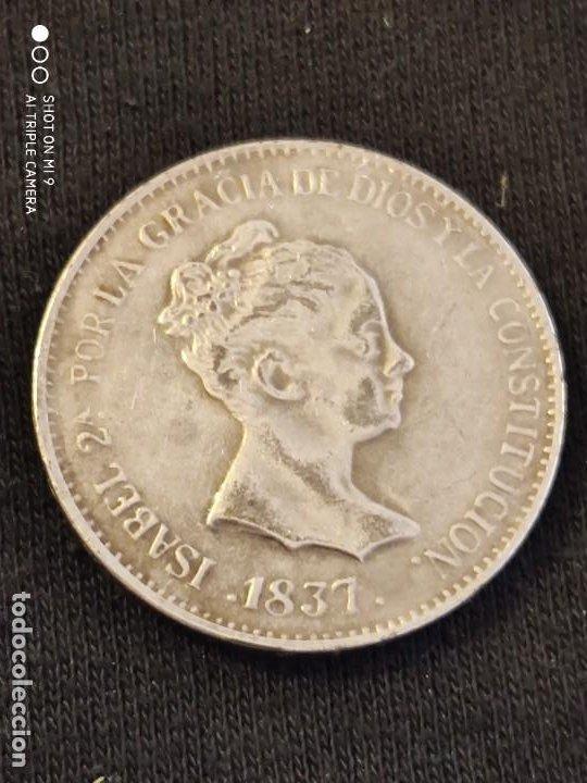 MONEDA 20 REALES ISABEL 2ª 1.837 , REPRODUCCIÓN DE ÉPOCA. (Numismática - Reproducciones)
