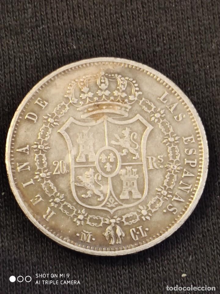 Reproducciones billetes y monedas: MONEDA 20 REALES ISABEL 2ª 1.837 , REPRODUCCIÓN DE ÉPOCA. - Foto 2 - 221782812
