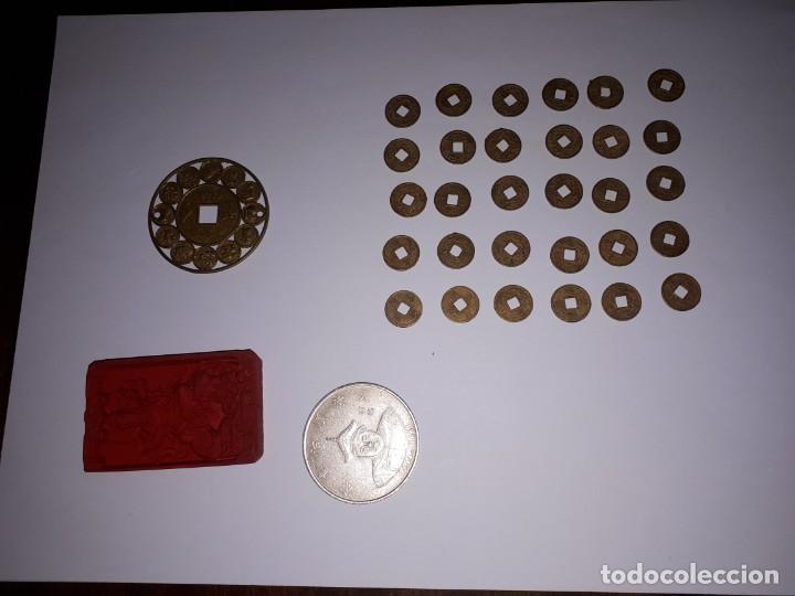 67-LOTE DE MONEDAS Y LINGOTE DE CINABRIO (Numismática - Reproducciones)