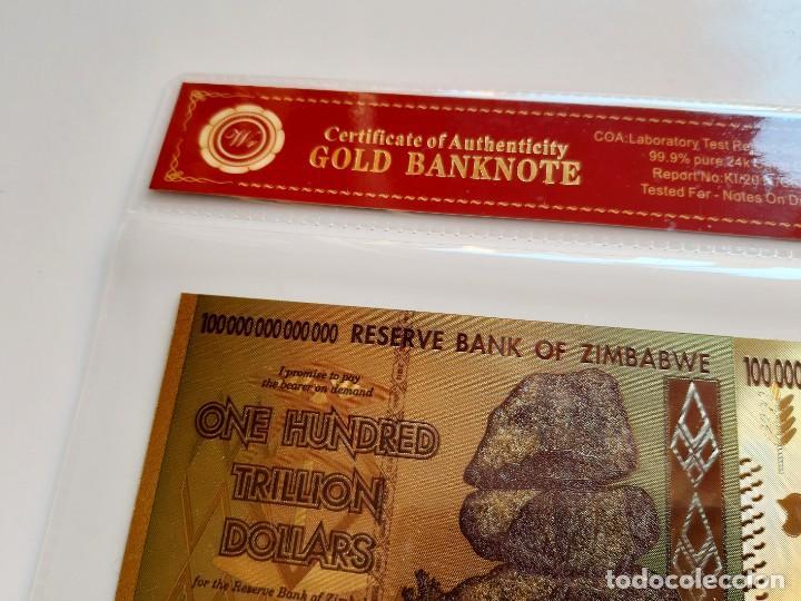 ZIMBABWE ONE HUNDRED TRILLION DOLLARS 100 000 000 000 000 GOLD BILLETE ORO BAÑADO COLOR CERTIFICADO (Numismática - Reproducciones)