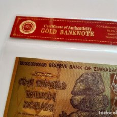 Reproducciones billetes y monedas: ZIMBABWE ONE HUNDRED TRILLION DOLLARS 100 000 000 000 000 GOLD BILLETE ORO BAÑADO COLOR CERTIFICADO. Lote 234520425