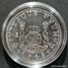 Reproducciones billetes y monedas: BONITA REPRODUCCIÓN MONEDA 8 REALES COLUMNARIO 1743 FELIPE V ESPAÑA METAL BAÑO EN PLATA FINA. Lote 277011933