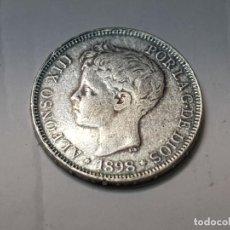 Reproducciones billetes y monedas: MONEDA 5 PESETAS 1898 ALFONSO XIII ESPAÑA REPLICA NO ORIGINAL. Lote 223716858