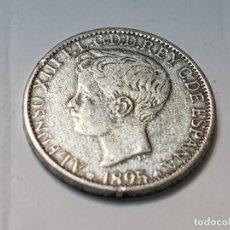Reproducciones billetes y monedas: MONEDA 5 PESETAS 1895 ALFONSO XIII ESPAÑA REPLICA NO ORIGINAL. Lote 223717102