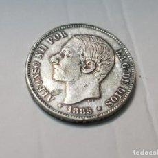 Reproducciones billetes y monedas: MONEDA 5 PESETAS 1885 ALFONSO XII ESPAÑA REPLICA NO ORIGINAL. Lote 223717562