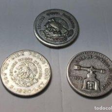 Reproducciones billetes y monedas: MONEDAS ESTADOS UNIDOS MEXICANOS LOTE 3 DISTINTAS REPLICA NO ORIGINAL. Lote 223718360