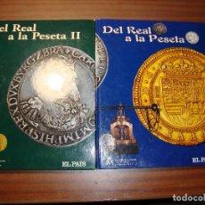 Reproducciones billetes y monedas: GRANCOLECCION COMPLETA EN 2 ALBUMES 80 MONEDAS DEL REAL A LA PESETA EMITIDA FNMT EN PERFECTO ESTADO. Lote 230570075