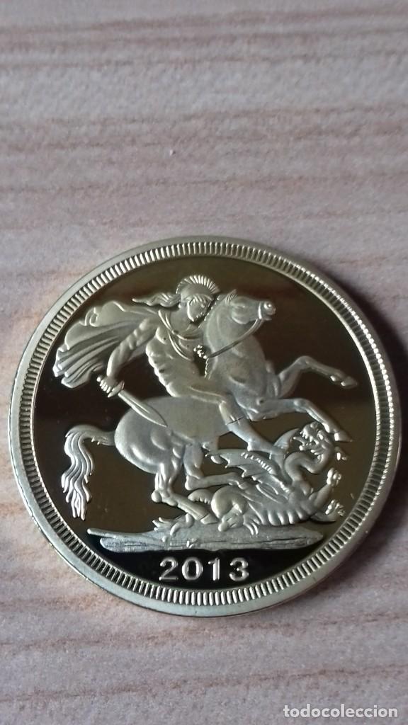 Reproducciones billetes y monedas: Gran medallon de Lady Di chapado en oro - Foto 7 - 231319710