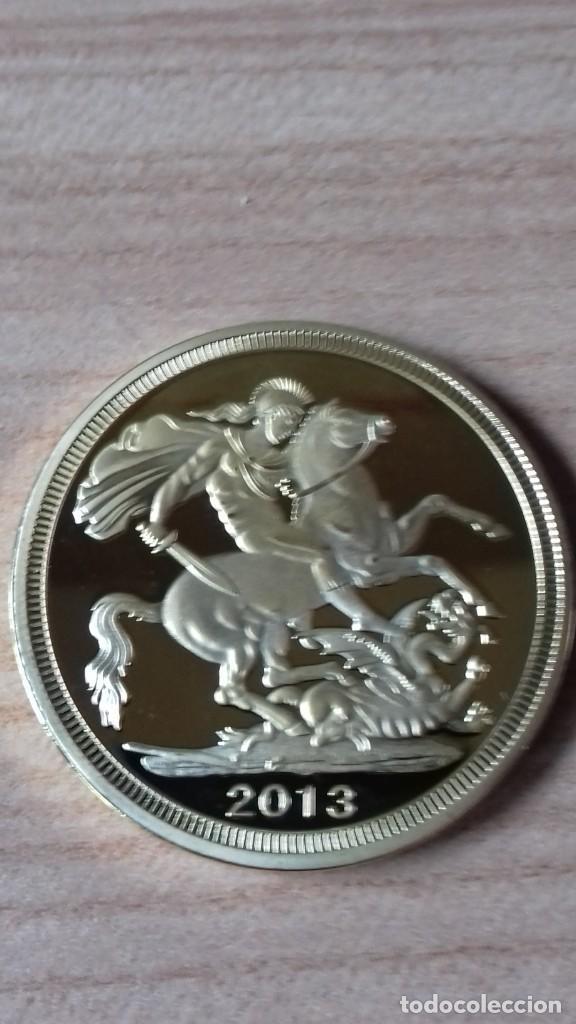Reproducciones billetes y monedas: Gran medallon de Lady Di chapado en oro - Foto 9 - 231319710