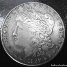 Reproducciones billetes y monedas: DOLAR US MORGAN 1888 PARA COLECCIÓN CON BAÑO DE PLATA. Lote 232172705