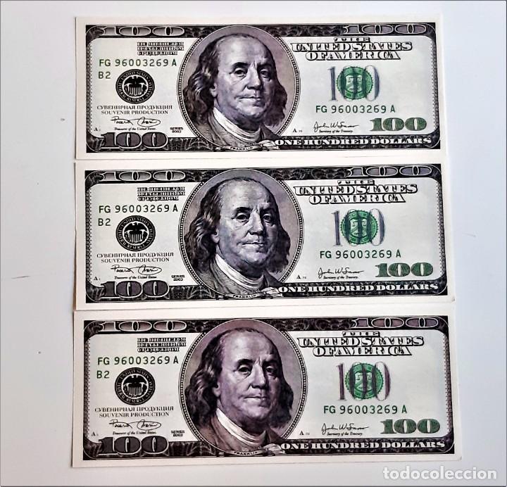 USA 100 DOLLARS 3 BILLETES DE PAPEL (FANTASIA) (Numismática - Reproducciones)