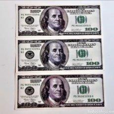 Reproduções notas e moedas: USA 100 DOLLARS 3 BILLETES DE PAPEL (FANTASIA). Lote 252076380