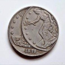 Reproducciones billetes y monedas: USA TRADE DOLLAR 1879 ERROR DE MONEDA - 37.MM DIAMETRO - 26.71.GRAMOS. Lote 234126900