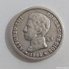 Reproducciones billetes y monedas: REPLICA 1 PESETA 1904 ALFONSO XIII. Lote 234143015