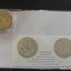 Reproducciones billetes y monedas: REPRODUCCION DE UN TREMIS BIZANTINO DE ORO. Lote 268999444