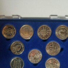 Reproducciones billetes y monedas: REPRODUCCION DE MONEDAS ARAGONESAS EN PLATA DE LEY ARRASTRA 13 UNIDADES EN SU ESTUCHE. Lote 235372470