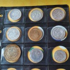 Reproducciones billetes y monedas: COLECCIÓN DE 40 MONEDAS DEL REAL A LA PESETA. Lote 236904110