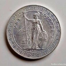 Riproduzioni banconote e monete: 1907 REINO UNIDO 1 DOLLAR COMERCIO BRITANICO PLATA BAÑADA - 26.64.GRAMOS 38.MM DIAMETRO. Lote 258037950