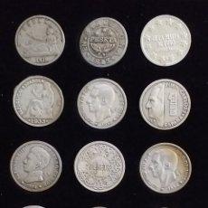 Reproducciones billetes y monedas: COLECCION 12 REPLICAS ESPAÑA DE 1 PESETA ANTIGUAS Y MODERNAS. Lote 239729710
