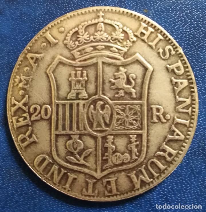 Reproducciones billetes y monedas: Moneda José napoleon 20 reales 1808 replica tamaño real 22,14 gramos fuerte baño de plata - Foto 2 - 243218805