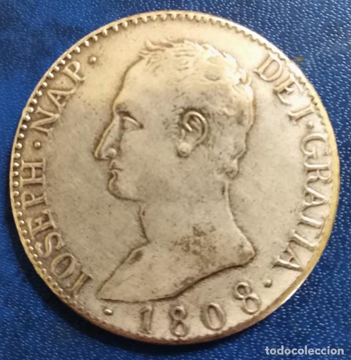 MONEDA JOSÉ NAPOLEON 20 REALES 1808 REPLICA TAMAÑO REAL 22,14 GRAMOS FUERTE BAÑO DE PLATA (Numismática - Reproducciones)