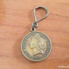 Reproduções notas e moedas: LLAVERO REPRODUCCIÓN DE MONEDA DE UN PESO REPÚBLICA DOMINICANA 1952. Lote 243575555