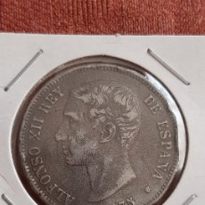 Reproductions billets et monnaies: (ESPAÑA)(1875) FALSA DE ÉPOCA 5 PESETAS ALFONSO XII. Lote 243785090