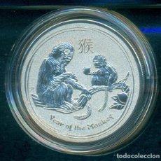 Reproduções notas e moedas: AUSTRALIA - ONZA DE PLATA - AÑO DEL MONO 2016. CON CAPSULA.. Lote 243880055