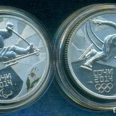 Reproduções notas e moedas: RUSIA - 3 RUBLOS PLATA JUEGOS OLIMPICOS DE INVIERNO 2014 + 2014. CON CAPSULAS.. Lote 243884230