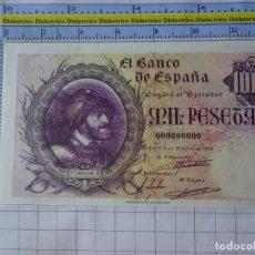 Reproducciones billetes y monedas: BILLETE FACSÍMIL. COLECCIÓN TODOS LOS BILLETES DE LA PESETA. 21 OCTUBRE 1940 1000 PESETAS. Lote 244605325