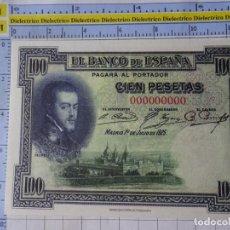 Reproducciones billetes y monedas: BILLETE FACSÍMIL. COLECCIÓN TODOS LOS BILLETES DE LA PESETA. 1 JULIO 1925 100 PESETAS. Lote 244605555
