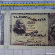 Reproducciones billetes y monedas: BILLETE FACSÍMIL. COLECCIÓN TODOS LOS BILLETES DE LA PESETA. 24 JULIO 1893 50 PESETAS. Lote 244605655