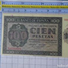 Reproducciones billetes y monedas: BILLETE FACSÍMIL. COLECCIÓN TODOS LOS BILLETES DE LA PESETA. 21 NOVIEMBRE 1936 100 PESETAS. Lote 244605795