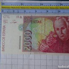 Reproducciones billetes y monedas: BILLETE FACSÍMIL. COLECCIÓN TODOS LOS BILLETES DE LA PESETA. 24 ABRIL 1992 2000 PESETAS. Lote 244605865