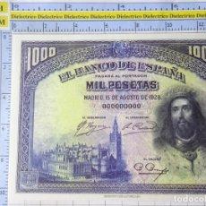 Reproducciones billetes y monedas: BILLETE FACSÍMIL. COLECCIÓN TODOS LOS BILLETES DE LA PESETA. 15 AGOSTO 1928 1000 PESETAS. Lote 244606325