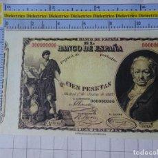 Reproducciones billetes y monedas: BILLETE FACSÍMIL. COLECCIÓN TODOS LOS BILLETES DE LA PESETA. 1 JUNIO 1889 100 PESETAS. Lote 244607840
