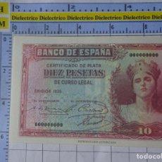 Reproducciones billetes y monedas: BILLETE FACSÍMIL. COLECCIÓN TODOS LOS BILLETES DE LA PESETA. 1935 10 PESETAS. Lote 244607880