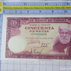 Reproducciones billetes y monedas: BILLETE FACSÍMIL. COLECCIÓN TODOS LOS BILLETES DE LA PESETA. 31 DICIEMBRE 1951 50 PESETAS. Lote 244607975