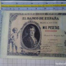 Reproducciones billetes y monedas: BILLETE FACSÍMIL. COLECCIÓN TODOS LOS BILLETES DE LA PESETA. 1 MAYO 1895 1000 PESETAS. Lote 244608020