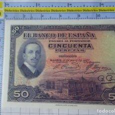 Reproducciones billetes y monedas: BILLETE FACSÍMIL. COLECCIÓN TODOS LOS BILLETES DE LA PESETA. 17 MAYO 1927 50 PESETAS. Lote 244608180