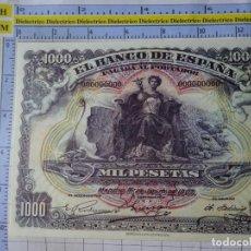 Reproducciones billetes y monedas: BILLETE FACSÍMIL. COLECCIÓN TODOS LOS BILLETES DE LA PESETA. 15 JULIO 1907 1000 PESETAS. Lote 244608620