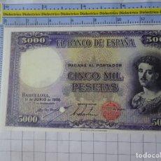Reproducciones billetes y monedas: BILLETE FACSÍMIL. COLECCIÓN TODOS LOS BILLETES DE LA PESETA. 11 JUNIO 1938 5000 PESETAS. Lote 244608775