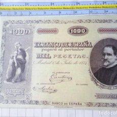 Reproducciones billetes y monedas: BILLETE FACSÍMIL. COLECCIÓN TODOS LOS BILLETES DE LA PESETA. 1 JULIO 1874 1000 PESETAS. Lote 244608825