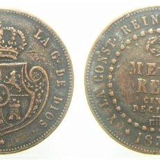 Reproduções notas e moedas: REPRODUCCION MONEDA DE ISABEL II MEDIO REAL 1850. Lote 244893170