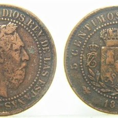Reproduções notas e moedas: REPRODUCCION MONEDA DE CARLOS VII 5 CENTIMOS 1875. Lote 244895110