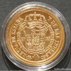 Reproducciones billetes y monedas: REPRODUCCIÓN MONEDA DE ORO ESPAÑA 80 REALES 1836 MADRID ISABEL II METAL CON BAÑO DE ORO PURO. Lote 244941410